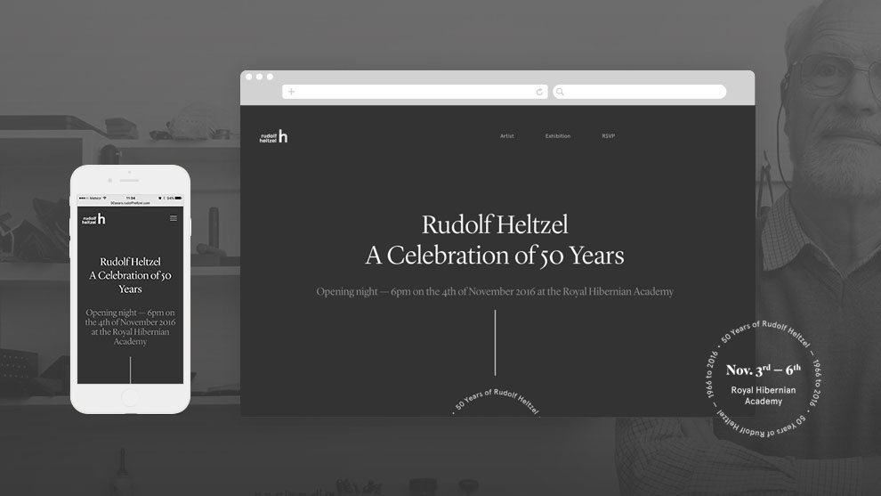 50 Years of Rudolf Heltzel Exhibition Website old thumb by Freelance Graphic Designer Colm McCarthy