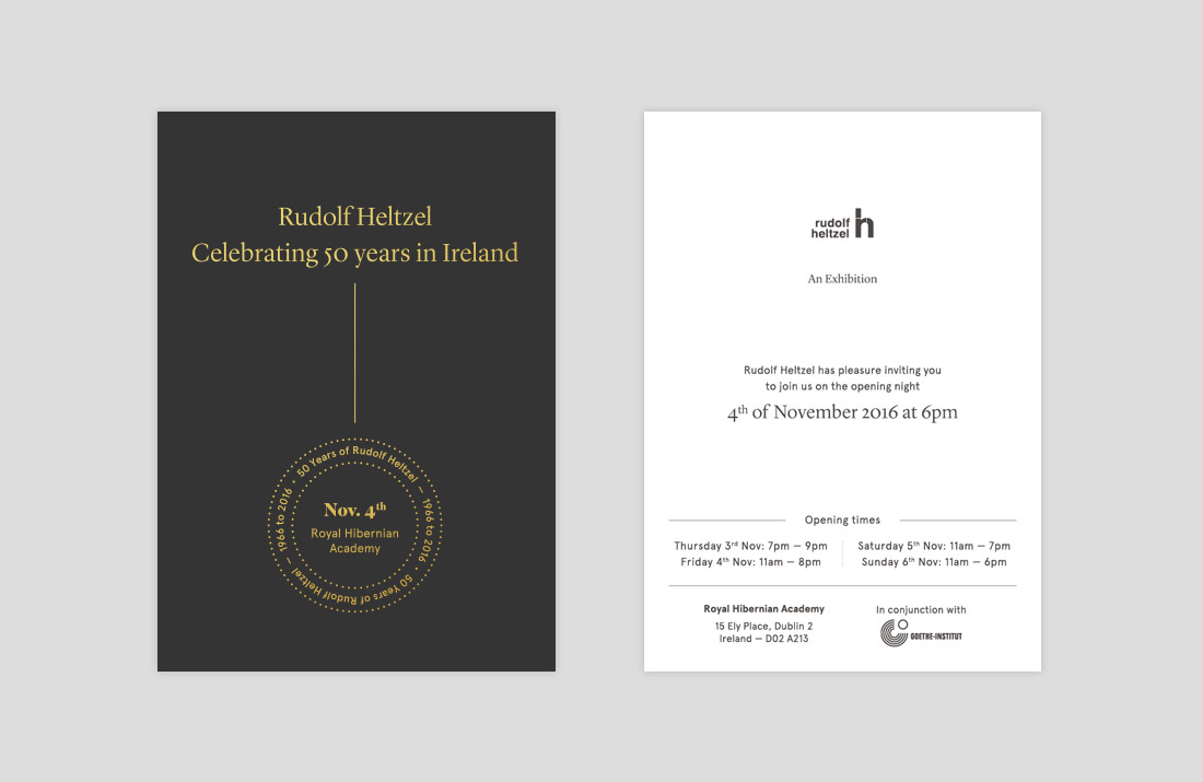 50 Years of Rudolf Heltzel Exhibition Gold Foil invites by Freelance Graphic Designer Colm McCarthy