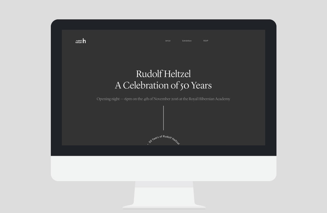 50 Years of Rudolf Heltzel Exhibition Website landing page by Freelance Graphic Designer Colm McCarthy