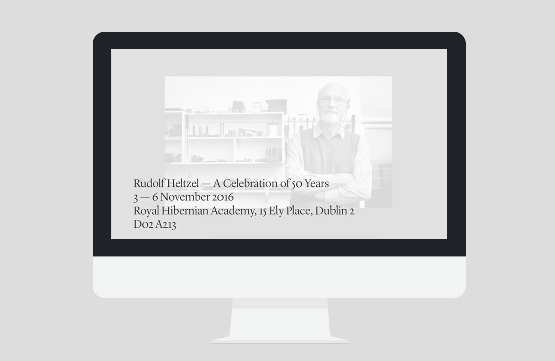 50 Years of Rudolf Heltzel Exhibition Website icon interaction by Freelance Graphic Designer Colm McCarthy