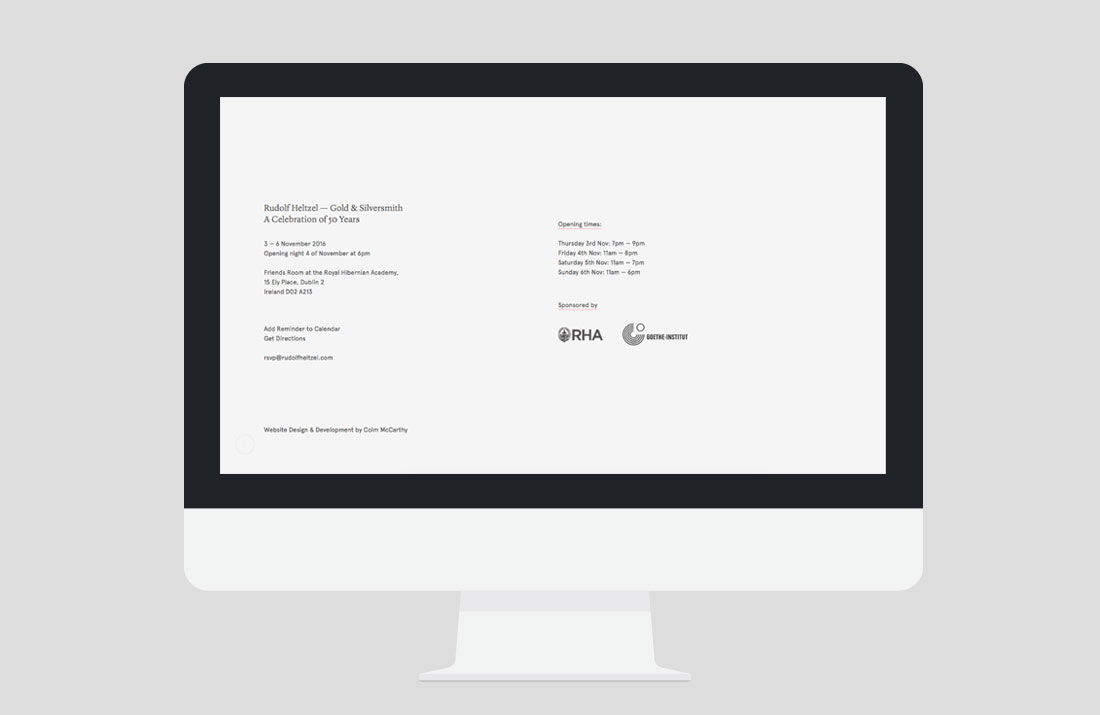 50 Years of Rudolf Heltzel Exhibition Website footer by Freelance Graphic Designer Colm McCarthy