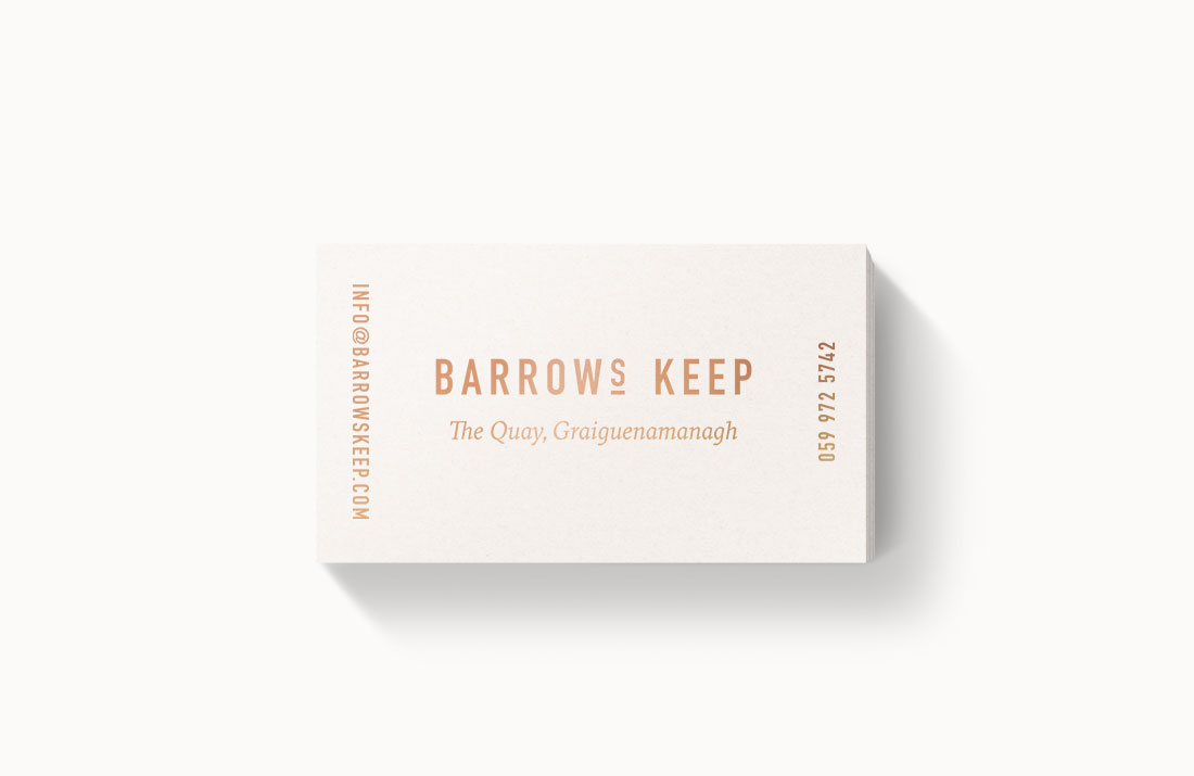 Barrows Keep Restaurant: Copper foil business cards by Freelance Graphic Designer Colm