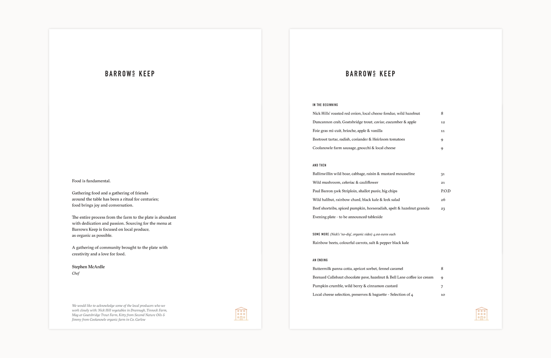 Barrows Keep Restaurant: Menu design by Freelance Graphic Designer Colm