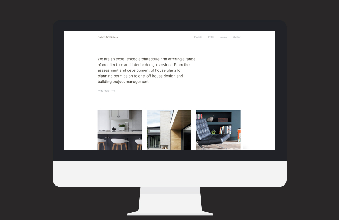 DMVF Architects Website: Home page intro design by Freelance Graphic Designer Colm McCarthy